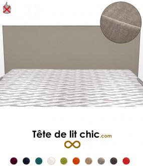 Tête de lit gris clair anti-tache anti-feu rectangulaire personnalisable