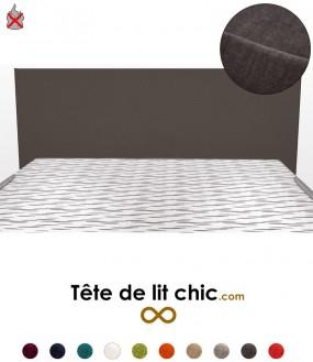 Tête de lit gris foncé anti-tache anti-feu rectangulaire personnalisable