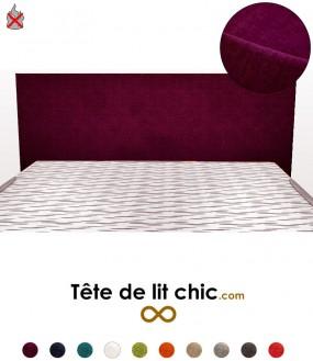 Tête de lit design violette anti-tache anti-feu rectangulaire personnalisable