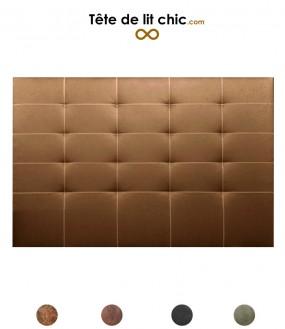 Tête de lit en simili cuir vieilli surpiqué personnalisable - 8 tailles au choix