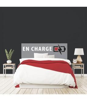 """Tête de lit """"EN CHARGE"""" grise  garçon sur mesure"""