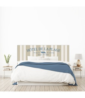 """Tête de lit """"HOTEL DE LA PLAGE"""" beige sur mesure"""