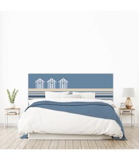 """Tête de lit """"BORD DE MER"""" bleue sur mesure"""