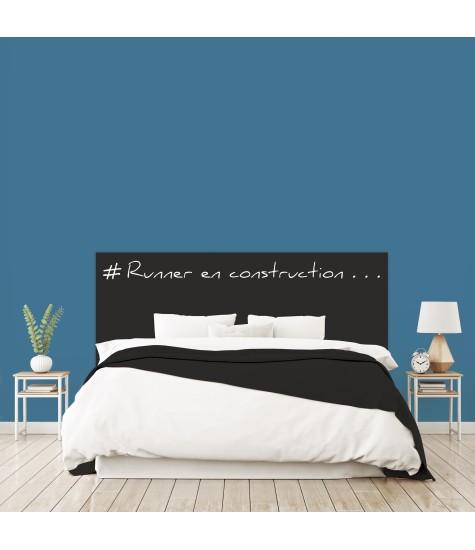 """Tête de lit """"RUNNER EN CONSTRUCTION"""" noire sur mesure"""