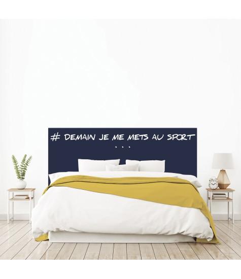 """Tête de lit """"DEMAIN JE ME METS AU SPORT"""" bleue sur mesure"""