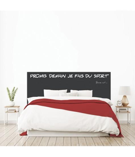 """Tête de lit """"PROMIS DEMAIN JE FAIS DU SPORT"""" noire sur mesure"""