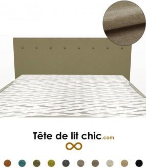 Tête de lit droite taupe à boutons en tissu anti-tache