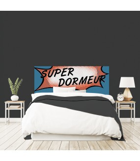 """Tête de lit """"SUPER DORMEUR"""" bleue sur mesure"""