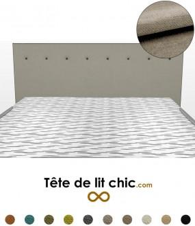 Tête de lit rectangulaire gris clair à boutons en tissu anti-tache