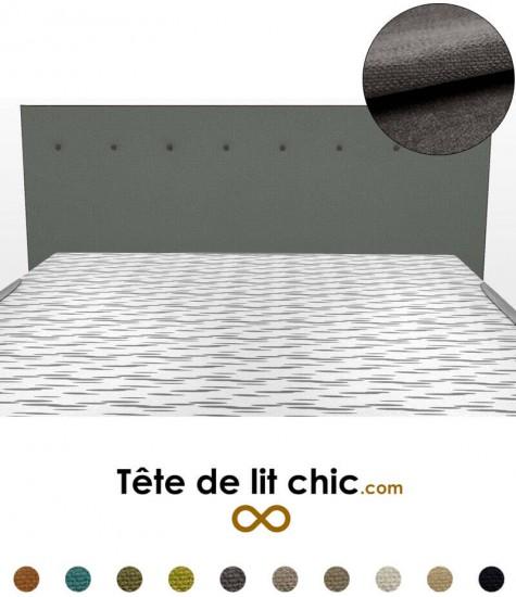 Tête de lit rectangulaire gris foncé à boutons en tissu anti-tache