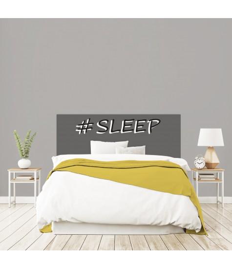 """Tête de lit """"SLEEP"""" grise sur mesure"""