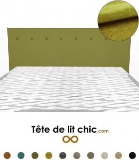 Tête de lit rectangulaire verte foncé à boutons en tissu anti-tache